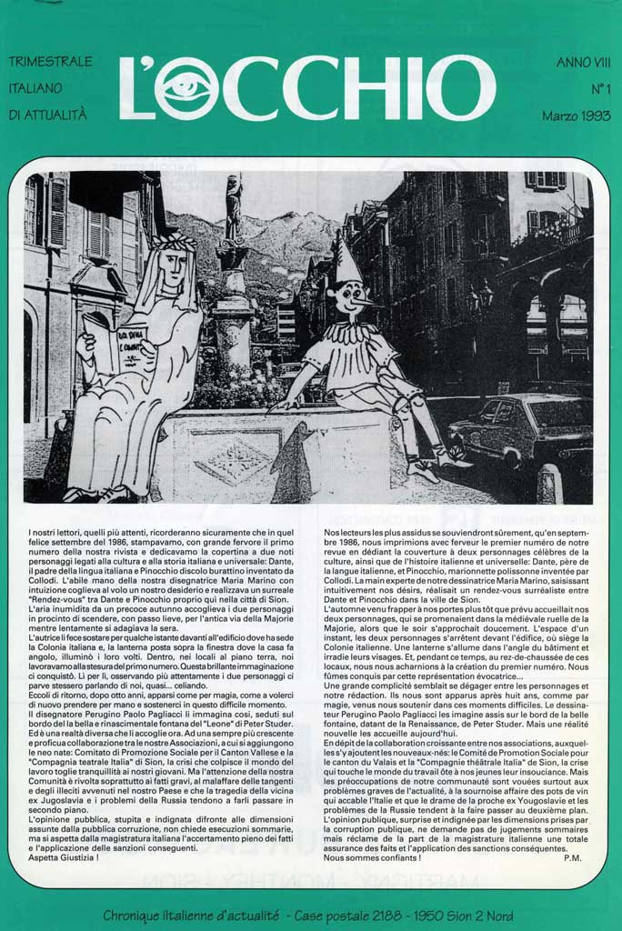 L'Occhio (The Eye), newsletter for Italians in Sion, no. 1, March 1993