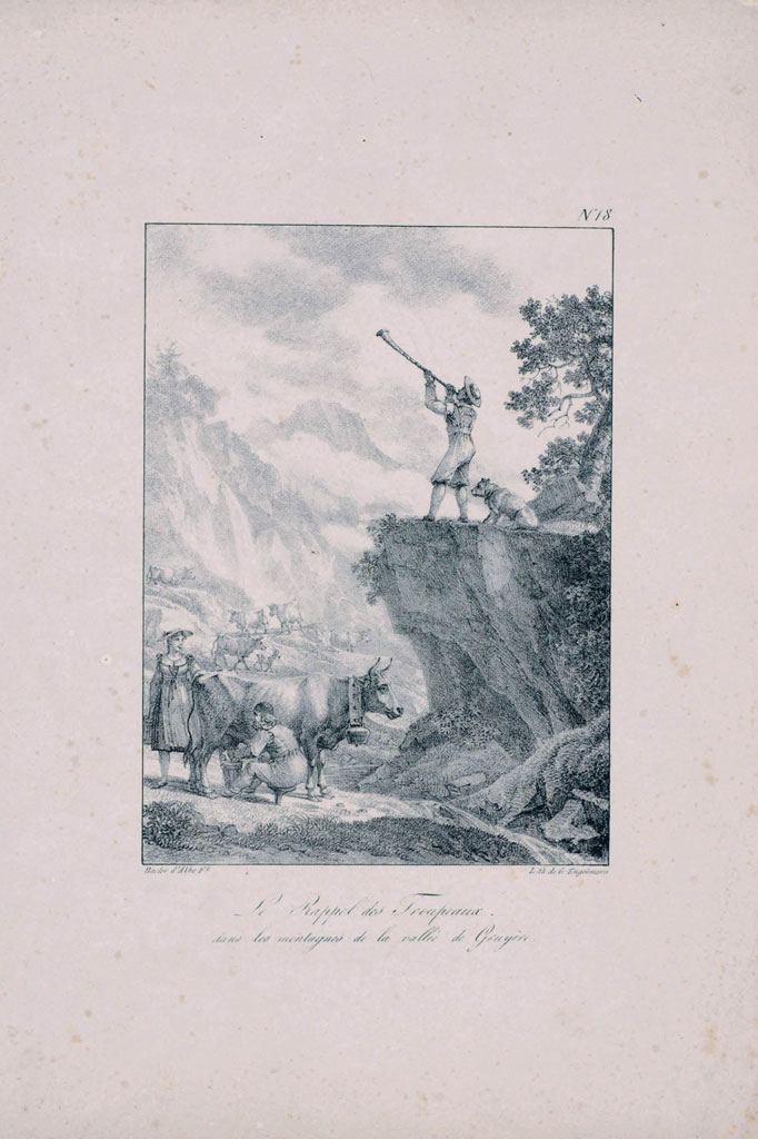 Calling in the herd in the Gruyère Valley, print, 18th century © Musée gruérien, Bulle