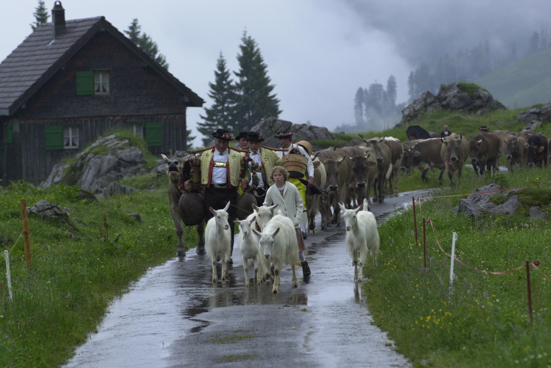 Schwägalp ascent: The procession goes on even if it rains © Hans Hürlemann, Urnäsch, 2001