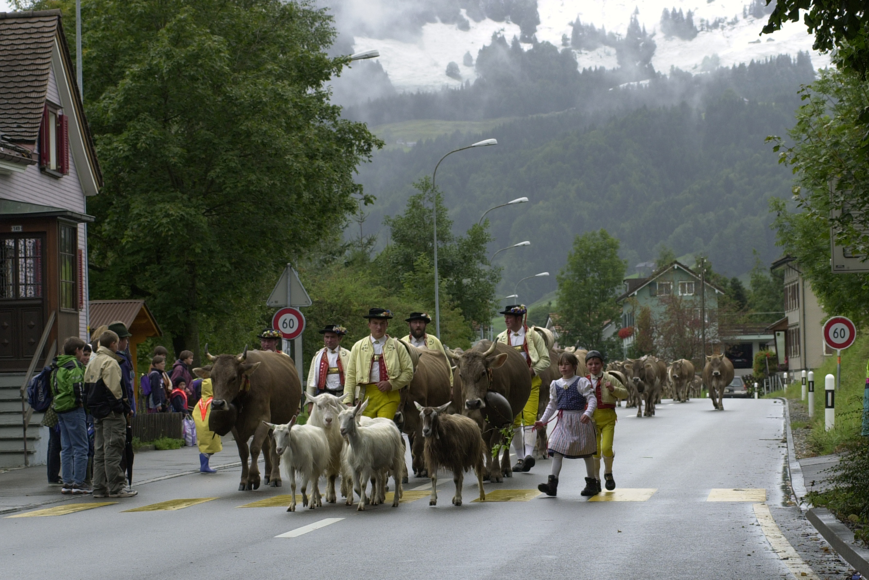 Descent, Urnäsch: The procession leaders approaching the village of Urnäsch © Hans Hürlemann, Urnäsch, 2001