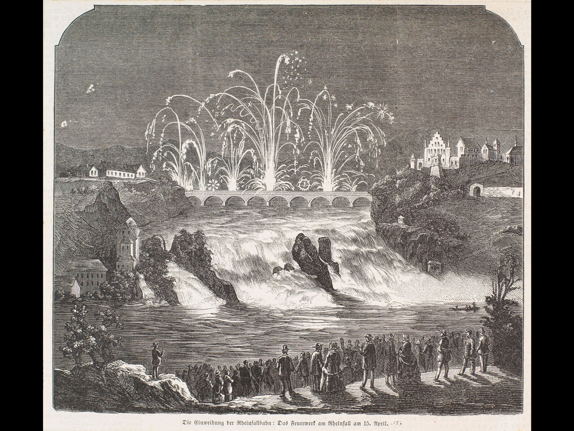 Inauguration of the railway line crossing the falls: the firework of April 15th (newspaper article) © Museum zu Allerheiligen Schaffhausen, Inv. 53001