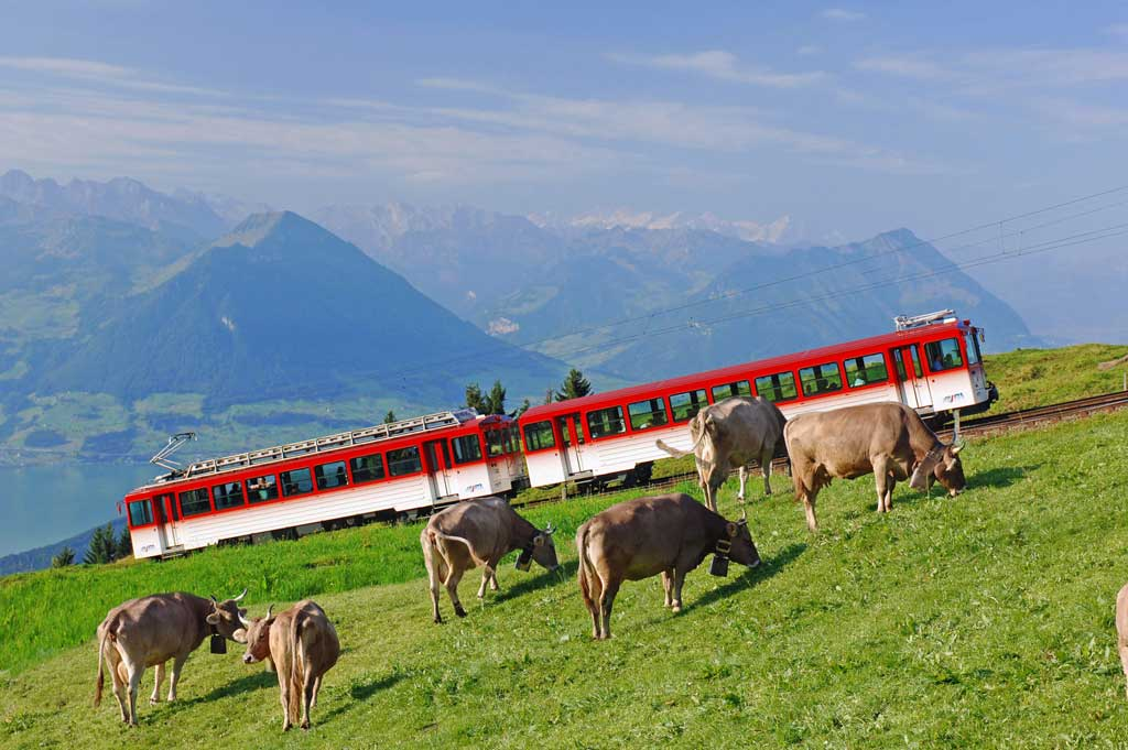 Rigi, 2008: a multiple-unit train against the backdrop of Lake Lucerne and the mountains of Nidwalden. © Christian Perret, Emmetten/Rigi Bahnen, Vitznau