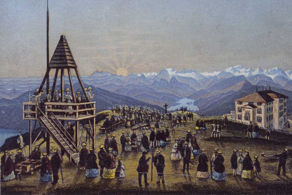 Rigi Kulm around 1875: tourists watching the legendary sunrise and enjoying the view of the alps. © Zentral- und Hochschulbibliothek Luzern, Sondersammlung