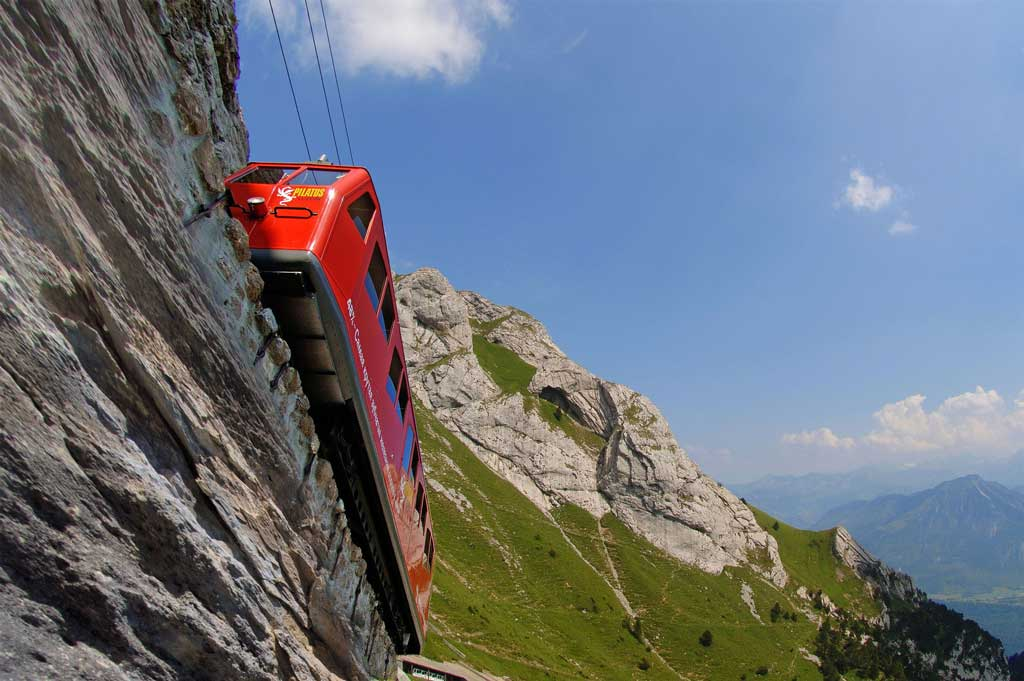 Alpnachstad on Lake Lucerne – Pilatus, 2011: the steepest rack railway in the world. © Pilatus Bahnen