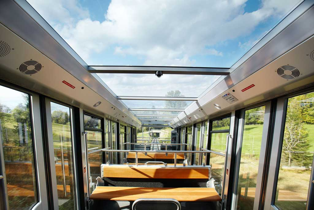 Panorama as a design concept: the view from the glass-topped carriage of the Zugerberg railway, 2009. © Sylvan Müller, Luzern/Zugerbergbahn AG, Zug