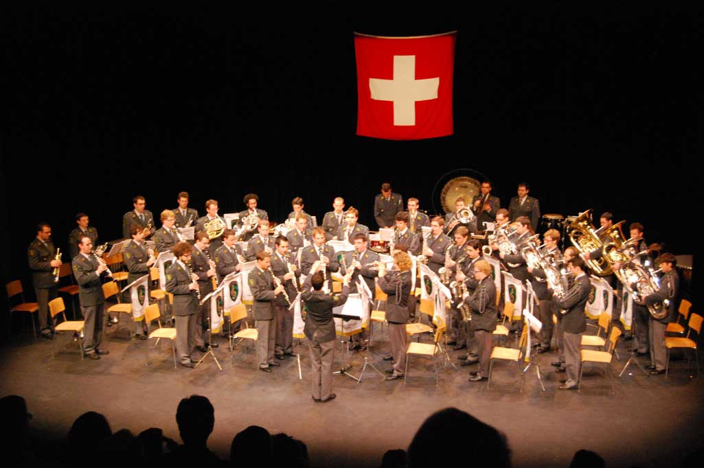 The Fanfare of brigade infanterie 2 in concert, Cossonay (canton of Vaud). © Centre of Competence for Military Bands
